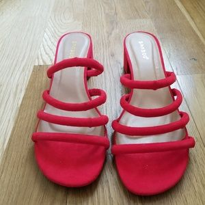 Strappy red sandals